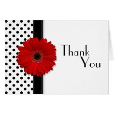 Red Gerber Black White Polka Dot Wedding Thank You Card