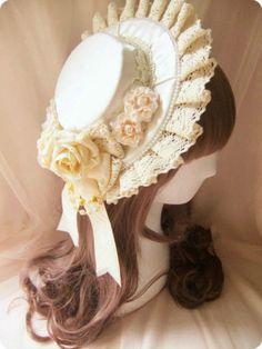 Handmade-Lolita-Goth-Headdress-Victorian-Cosplay-Maid-Fascinator-Bonnet-NEW