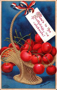Celebrating America's birthday with a lovely basket of bright red cherries. #vintage #4th_of_July #card