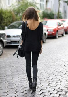 All black and biker boots