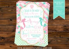 Mermaid Bliss - Ocean Themed Birthday Party Invitation by ImpressionsPaperie - Pink Mint and Gold