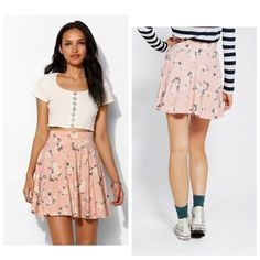 Urban Outfitters Floral Skirt - FINAL • This adorable circle skirt has been worn once or twice and is like new • no rips, tears, pulls, or stains • rose pattern with shades of pink and blue-grey details Pins & Needles Skirts Mini