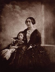 Earliest known photograph of Victoria, here with her eldest daughter, c. 1845