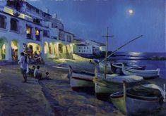 """""""MOON NIGHT IN CALELLA DE PALAFRUGELL"""", 92x62 cm, oil on canvas, artist Vladimir Volegov"""
