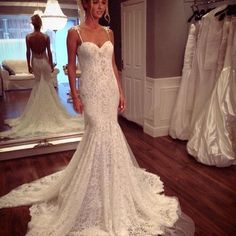 White Vintage Lace Long Wedding Dresses Sweetheart Spaghetti Straps Chapel Train Backless Mermaid 2015 Bridal Gown, $142.4 | DHgate.com