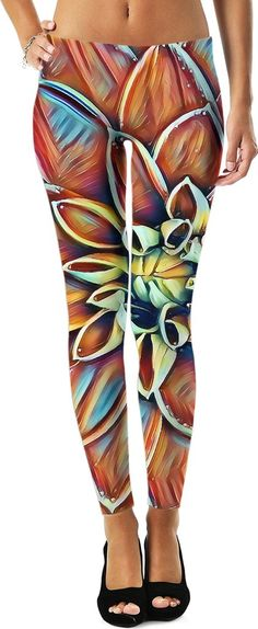 Dahlia flower leggings, colorful abstract floral pattern girls apparel, stylish design clothing - item printed at www.rageon.com/a/users/casemiroarts - also available at www.casemiroarts.com