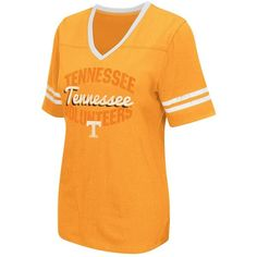 Women's Campus Heritage Tennessee Volunteers Fair Catch Football Tee ($30) ❤ liked on Polyvore featuring tops, t-shirts, orange, graphic design t shirts, distressed graphic tees, distressed t shirt, ripped t shirt and orange t shirt