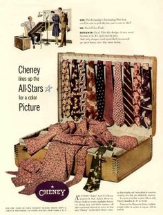1947 FULL-COLOR AD FOR CHENEY MEN'S TIES & LEISUREWEAR