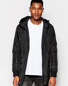 "Jacket by Izzue Mid-weight, soft-touch fabric Lightly padded for insulation Fully lined Hooded neck Zip opening Side pockets Ribbed cuffs Regular fit - true to size Dry clean 100% Polyester Our model wears a size Medium and is 191cm/6'3"" tall"