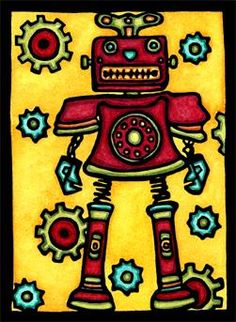 Robot - what child wouldn't like a cute robot on their bedroom wall? Interior Design for kids. Sarah Angst Original Art, created in Bozeman, Montana.