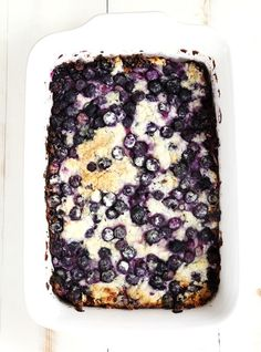 Gluten Free Blueberry Dump Cake. The perfect simple cake recipe with the slightly unfortunate name. Make it with frozen berries all winter long!