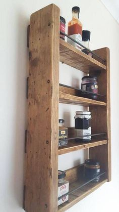 Our gorgeous storage rack is perfect for storing kitchen essentials like coffee and preserve jars up Wall Spice Rack, Wooden Spice Rack, Diy Spice Rack, Spice Storage, Storage Shelves, Shelving, Spice Rack Rustic, Build A Spice Rack, Diy Storage Rack