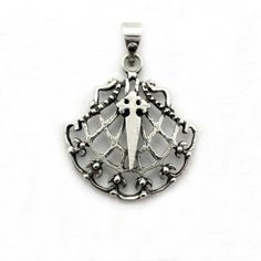 Pendant St.James cross and shell in sterling silver. Handmade in Galicia with traditional methods. Artcraft of The Way of St.James. Tax free $12.90