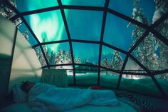 This far north, you can see the Aurora Borealis around 200 days a year. Glass igloos are available from August through April, which are the best time to see this natural light show.