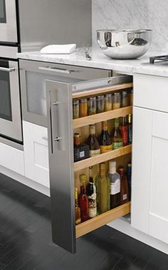 Astonishing Hidden Kitchen Storage Ideas You Must Have Do you have a small kitchen? Perhaps odd-sized cabinets or a less-than-ideal layout? It can be tough to find efficiency … Kitchen Storage Solutions, Diy Kitchen Storage, Kitchen Cabinet Organization, Kitchen Drawers, Home Decor Kitchen, Interior Design Kitchen, New Kitchen, Kitchen Ideas, Cabinet Storage