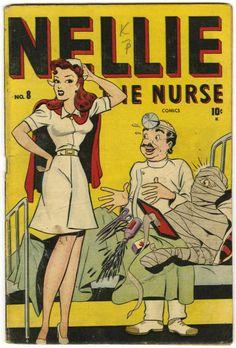 Nellie the Nurse (Timely, Condition: VG+. Colt 45, Archie Comics Characters, Comic Book Characters, Vintage Comic Books, Vintage Comics, Basil Wolverton, Nurse Cartoon, Comic 8, Vintage Nurse