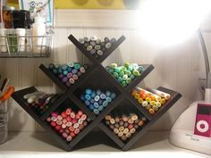 A Dozen Non-Boozy Ways to Use a Wine Rack in Every Room of the House - Basteln Organisation Scrapbook Storage, Scrapbook Organization, Craft Organization, Organizing, Craft Room Storage, Diy Storage, Craft Rooms, Storage Ideas, Ribbon Storage