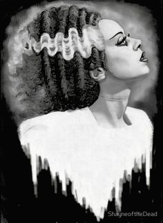 Bride of Frankenstein by Shayne Bohner B&W Monster Canvas Art Print canvas art painting, picture canvas ideas, acrylic canvas paint ideas Beetlejuice, Rockabilly, Stretched Canvas Prints, Canvas Art Prints, Modern Art Movements, Horror Monsters, Bride Of Frankenstein, Frankenstein Tattoo, Young Frankenstein