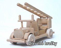 Dřevěné hračky, požární vozidlo, hasiči