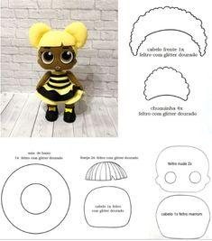 Black Lol doll for felt crafts Sock Dolls, Felt Dolls, Crochet Dolls, Rag Dolls, Felt Doll Patterns, Felt Crafts Patterns, Disney Silhouettes, Sewing Stuffed Animals, Sewing Dolls