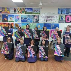 Perfect 'Girls Night Out' painting Zany Zebras! #PaintbrushesAndParty #PaintSipParty #paintandsip #sipandpaint #shoplocal #HudsonValley #Poughkeepsie #Friends #Family #Fun #GirlsNightOut #Laughter #ChooseYourFavoriteColors #StudioLightingIsGreat #GetCreative #DiscoverYourInnerArtist
