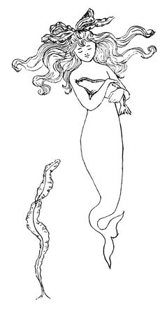 vintage mermaid black and white - Google Search