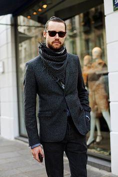 monochrome with scarf