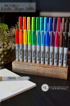 For the teachers or students in your life, craft a wooden sharpie holder and get to color coding.