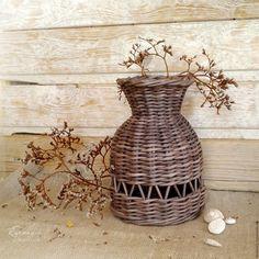 Купить Чудесная плетеная вазочка - вазочка плетеная, плетеный кувшин, волшебный горшочек, плетеный подарок