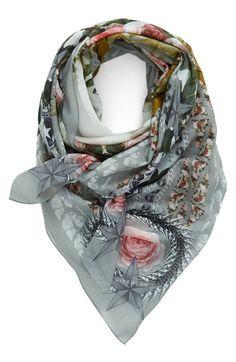 Givenchy 'Paradise Flower' Print Cotton & Silk Scarf