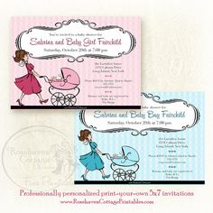 """Professionally personalized """"French Chic Mama"""" printable baby shower invitation at www.RosehavenCottagePrintables."""