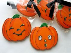 Vintage Jack-O-Lantern Cookies, Halloween Cookies by Rolling Pin Productions