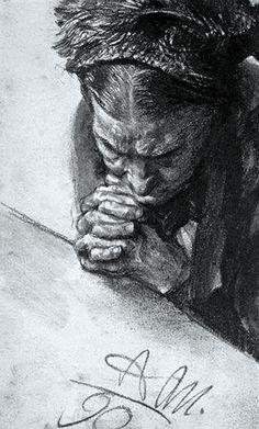 Menzel, Adolph von (b,1815) - Older Woman Praying