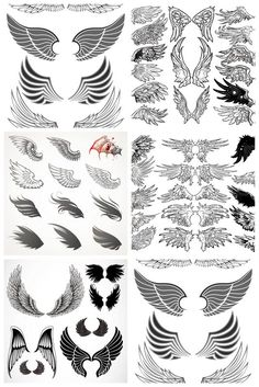Wings templates vector. 5 sets with different vector wings templates. Contains angel wings and bird wings. EPS stock vector clip art. Free for download.
