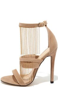 Get your groove on in the Dance Number Nude Suede Fringe Heels! Soft and velvety…