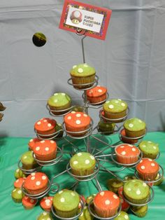 Cupcakes at a Super Mario Bros Party #supermario #cupcakes