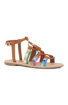 Tan Embellished Lace Up Sandal