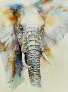 Elephant Animal Wall Art Original Watercolor Painting by Artist