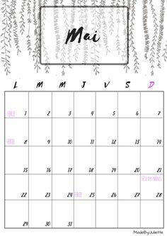 Calendrier - Mai 2017 - Imprimes le calendrier pour customiser ton agenda! A VOIR : ma vidéo sur youtube