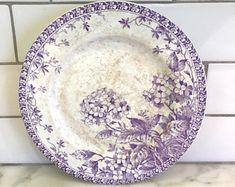 French Antique Lavender Cake stand (Sarreguemines, Gien, Creil, Transferware, Faience