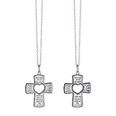 """Our sterling silver is over 90% pure silver, mixed with alloys to add strength and durability so it lasts a lifetime.Keep your loved ones close to you heart. The sterling pendant necklace has a heart cut out in the middle of the cross and is offered with the words, """"Blessings from the start I love my children with all my heart"""" or """"Blessings from the start I love my grandchildren with all my heart"""" engraved in black.FEATURES• Necklace is 19"""" L• Spring ring claspMade in China"""