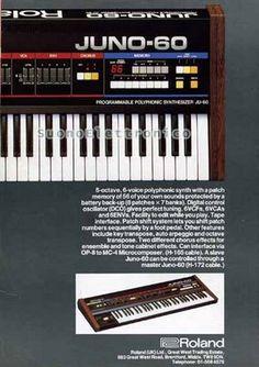 Suono Elettronico: Roland Juno-60 Roland Juno, Hammond Organ, Sine Wave, Drum Machine, Vintage Keys, Music Production, Electronic Music, Product Design, Keyboard