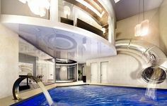Indoor pool with a waterslide from the bedroom? Yes, please.