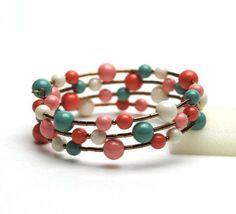 Large Wrist Memory Wire Bracelet - Coral and Jade Swarovski Pearl Bracelet - Plus Size Bracelet - Handmade Jewelry