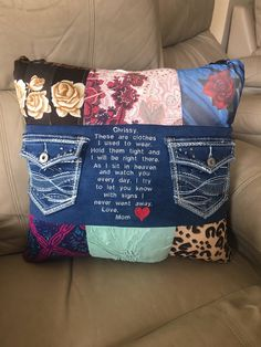 Items similar to QUILT PILLOW - Memory pillow from loved ones shirt - Keepsake Pillow - Memorial Pillow - Heart pillow - Patchwork pillow - grief pillow on Etsy Patchwork Pillow, Quilted Pillow, Patchwork Jeans, Sewing Crafts, Sewing Projects, Sewing Ideas, Sewing Hacks, Diy Projects, Memory Pillows