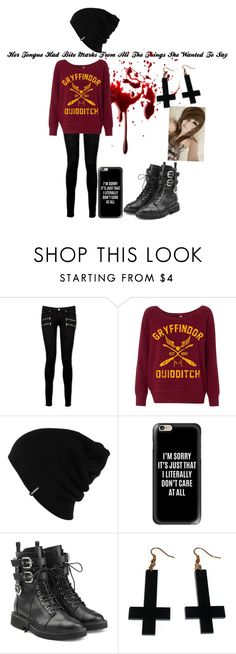 """Untitled #10"" by satanicemokitten on Polyvore featuring Paige Denim, Patagonia, Casetify, Giuseppe Zanotti and Chicnova Fashion"