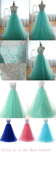 long prom dresses - 2016 Top Selling Long Charming Elegant White Lace Mint Tulle Prom Dresses For Teens from Mint Prom Dresses, A Line Prom Dresses, Tulle Prom Dress, 15 Dresses, Quinceanera Dresses, Dance Dresses, Pretty Dresses, Homecoming Dresses, Beautiful Dresses