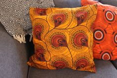 Cushion Cover - Wax Print – Lukhanyiso Arts & Crafts Printed Cushions, African Design, Cushion Covers, Printing On Fabric, Wax, Arts And Crafts, Vibrant, Throw Pillows, Contemporary