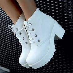 boots, heels, lace up, platform, white