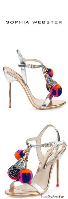 ✦ The Socialite's Shoe   2015 | Sophia Webster | Layla Pom-Pom Metallic Leather Sandal, Silver/Gold
